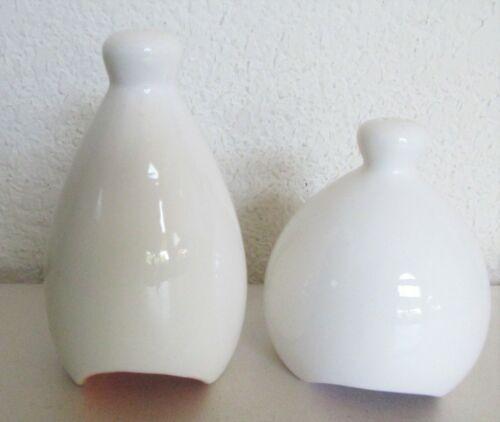 TreasureCraft Modern Off White w/Orange Lavender Bottom Salt & Pepper Shakers