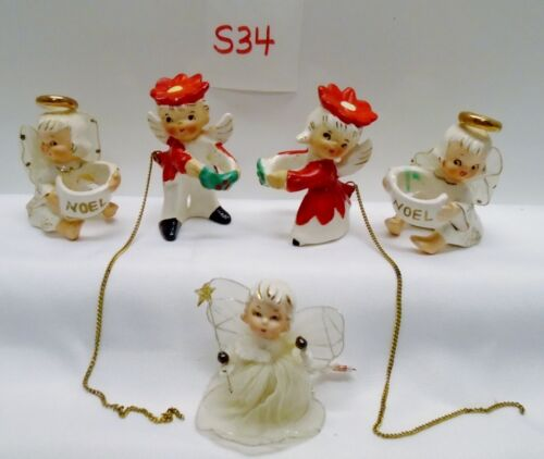 5 Vintage Christmas NOEL ANGEL CANDLE CLIMBERS & DECORATION Holiday  #S34