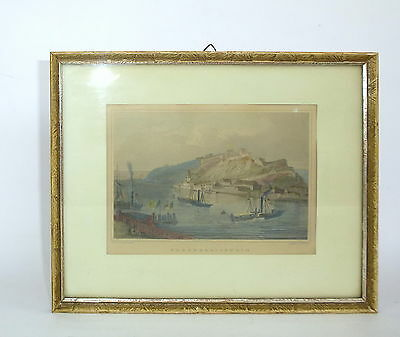 Kolorierter Stahlstich von J. Richter Georg Osterwald Ehrenbreitstein Hafen