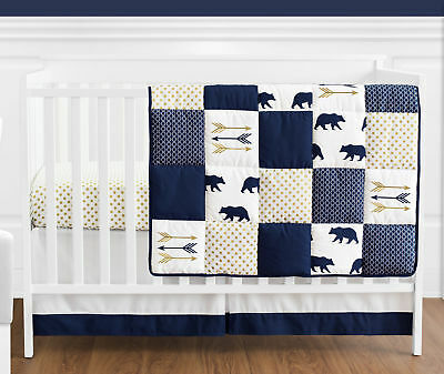 Sweet Jojo Navy Gold Dot Woodland Bear Baby Boy Bedding Crib Set Without (Modern Dot Crib)