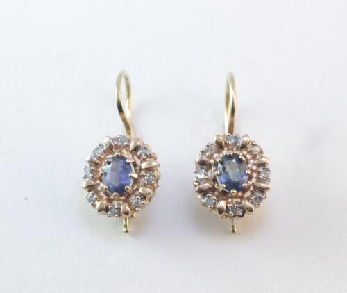 Victorian Sapphire Real Diamond 14k Halo Pierced Frop Earrings 14k Yellow Gold