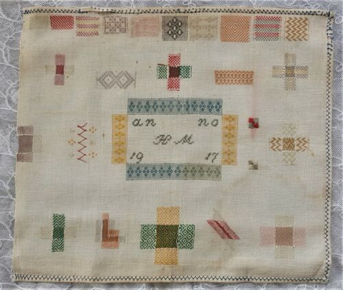 "Antique Dutch Darn Sampler Dated ""1917"" Various Darn Squares Monogram"