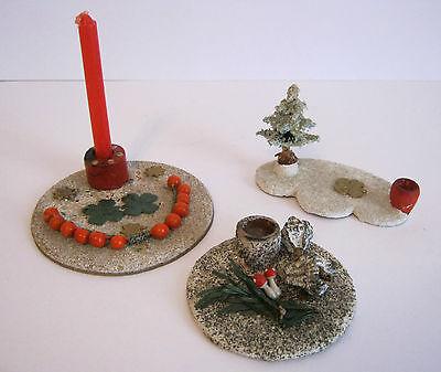 Drei alte Adventsleuchter / Kerzenhalter aus dem Erzgebirge