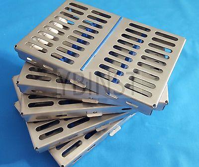 5 Dental Surgical Autoclave Sterilization Cassettes Racks Box For 10 Instruments