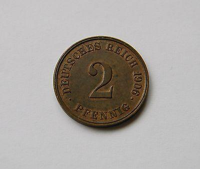 KAISERREICH: 2 Pfennig 1906 J, J. 11, fast stempelglanz !!!