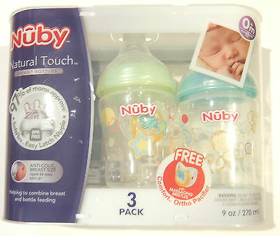 Nuby Natural Touch Infant Feeding Bottle, 9 oz, Slow Flow (3 Pack) +  Pacifier