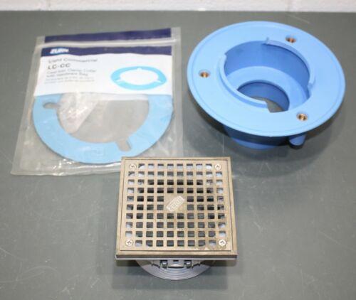 "Zurn 4"" Floor Drain w/ 5"" Square Nickel Bronze Top FS05NIP4S, LC-CC Clamp Collar"