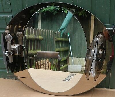 FAB LARGE QUALITY LOOKING OVAL WALL MIRROR WITH PAIR OF FITTED LIGHTS ON