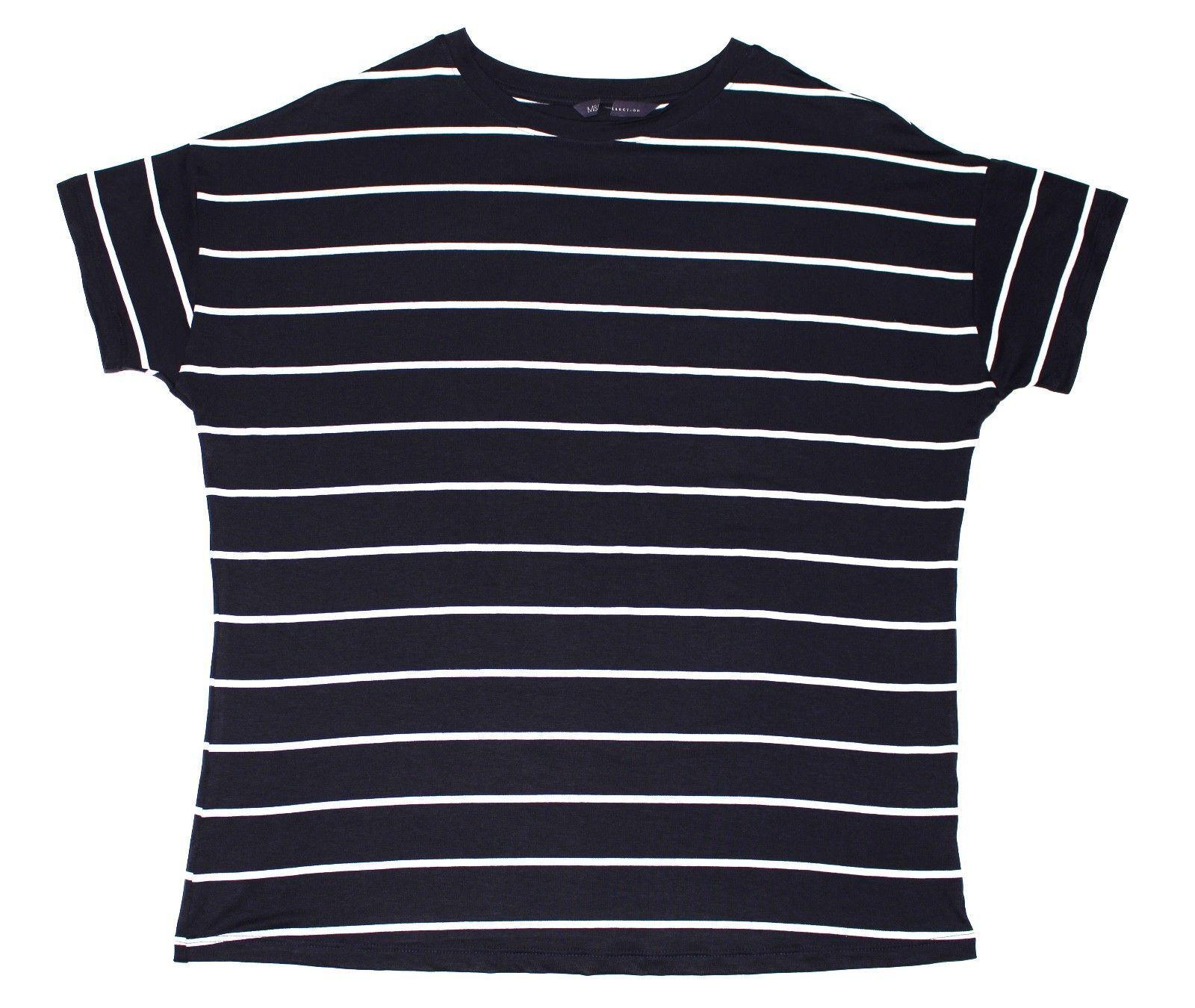 Details zu Lässige Damen Bluse Kurzärmelig Gestreift Leicht EX M&S Sommer T Shirt