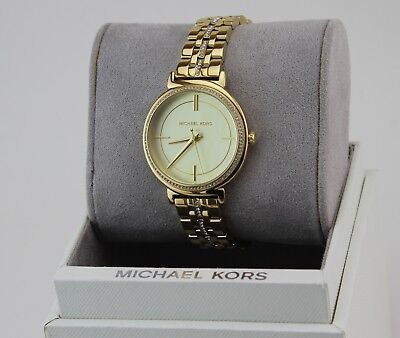 NEW AUTHENTIC MICHAEL KORS CYNTHIA GOLD CRYSTALS WOMEN'S MK3681 WATCH