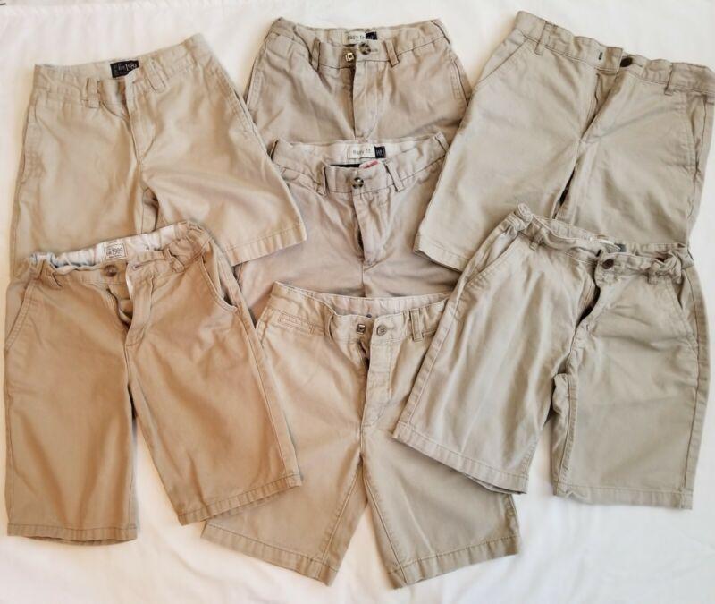 8 PAIR,Boys Uniform Shorts, Lot, Boys Shorts, Size 7,Size 8,khaki, FREE SHIPPING