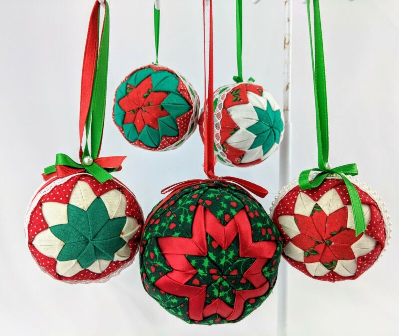 5 Vintage Quilted Christmas Ball Ornaments Lot Handmade Country Cottagecore Lace