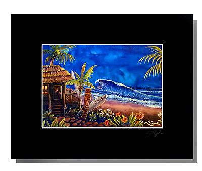 Oneil Surf Hut Matted 8x10 Print by CBjork Hawaiian Island Tropical Kitsch Art 10 Tiki Hut