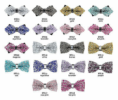18 Colors Glitter Crystal Rhinestone Bow Tie Sparkle Adult Tuxedo Novelty Bowtie - Glitter Bow Tie