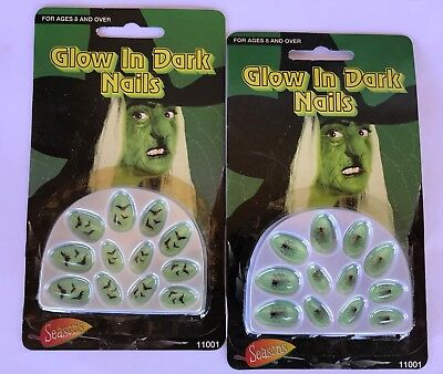 Halloween Decorated Nails Glow In The Dark Spider Web & Bats Two Complete Sets - Halloween Nails Spider Web