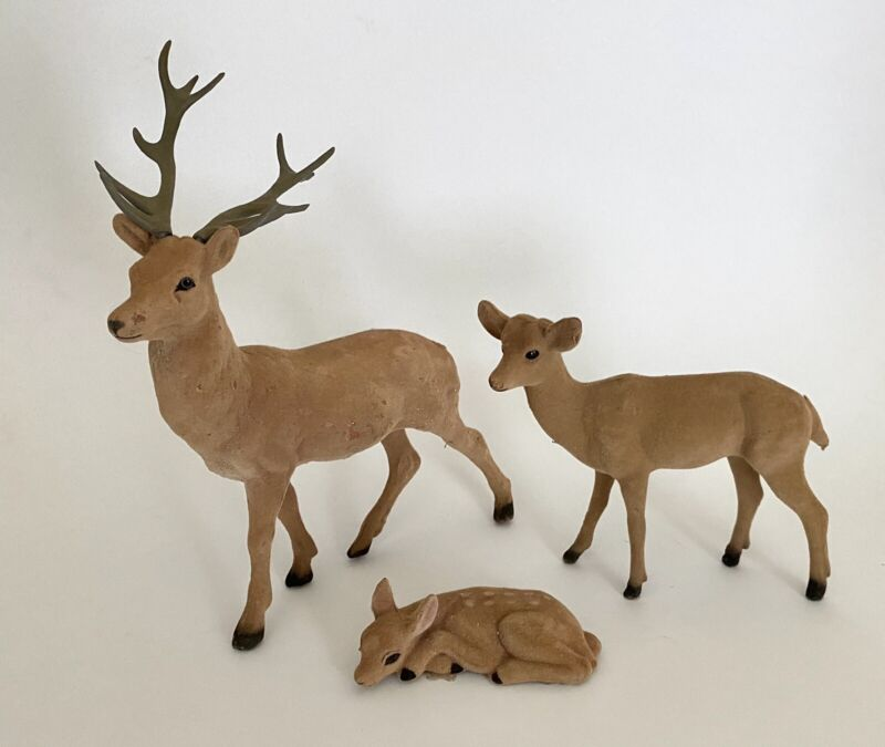 Vintage! Mid Century 3-Piece Plastic FLOCKED DEER FAMILY•Buck, Doe, Spotted Fawn