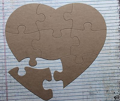 Extra Large 8 Piece Heart Shaped Jigsaw Puzzle Bare/Unfinished chipboard diecuts