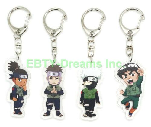 Set of 4 Naruto Anime Acrylic Keychain Hatake Kakashi, Might Guy, Iruka, Yamato