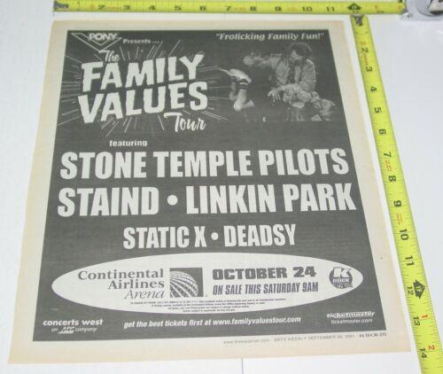 Family Values Tour STP Staind Linkin Park Concert AD Advert 2001 NJ Nu Metal
