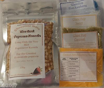 150g Popcorn Kernels, with 20g Raspberry, 20g Sweet & 20g Caramel & Butter salt