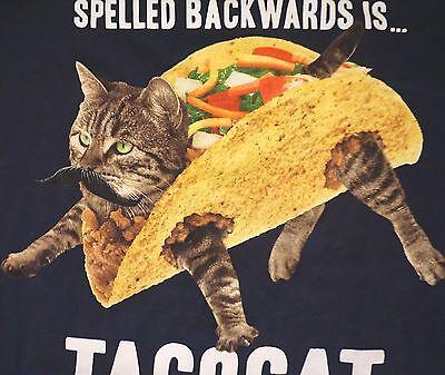 Taco Cat Backwards Kitty Inside Mexican Food Funny Animal T Shirt Mens S 3Xl New