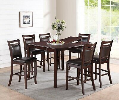 NEW HAYWARD DARK CHERRY FINISH WOOD COUNTER DINING TABLE SET w/ BUTTERFLY LEAF