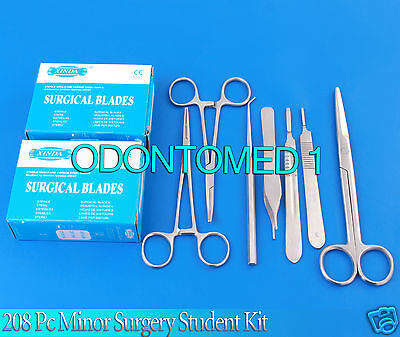208 Pc Minor Surgery Student Kit Veterinary Surgical Dental Forceps Instruments