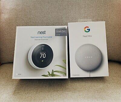 NIB Nest Learning Thermostat-3rd Gen-(White) & Nest Mini-2nd Gen-(Chalk)