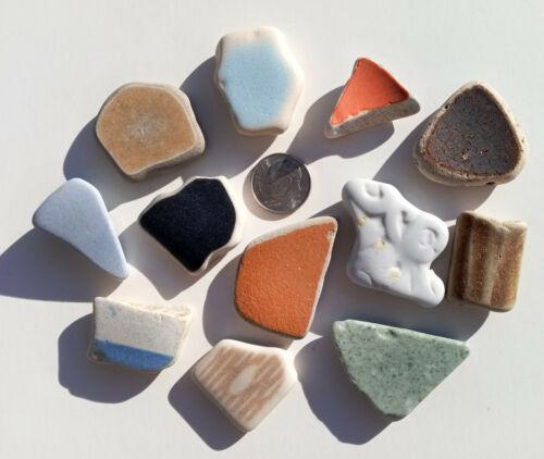 Genuine Nova Scotia Beach Sea Glass - 12 Large Colorful Ceramics / Pottery