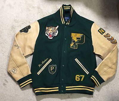 Polo Ralph Lauren Snow Bear P Wing Stadium Wool Varsity Letterman Jacket / Large