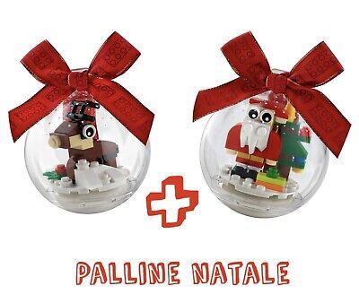 Coppia PALLINE ALBERO NATALE LEGO - RENNA e BABBO NATALE. Poss. Aggiunta In Sped