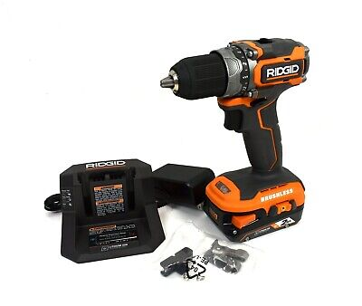 Ridgid 18v Subcompact Brushless 12 In. Drill W Battery Charger R8701