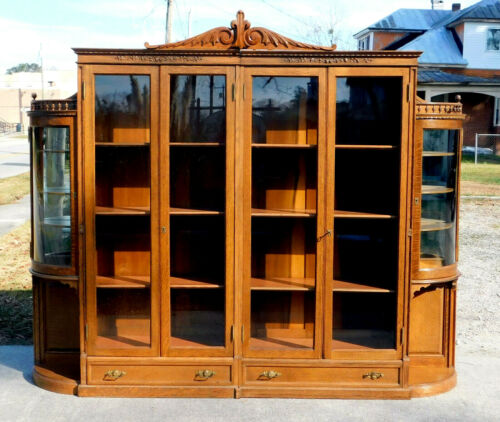 Stunning Tiger Oak Bookcase Display Cabinet~~~Adjustable Shelves