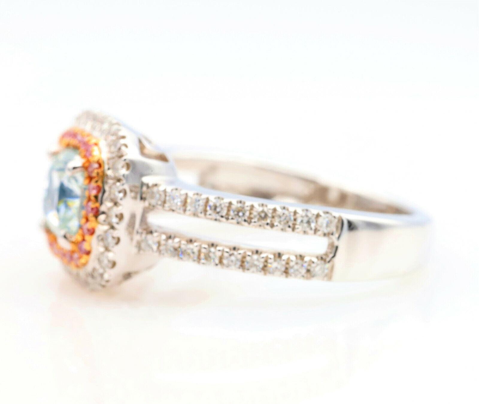 1.50ct Natural Fancy Light Green Argyle ntense Pink Diamonds Engagement Ring GIA 3