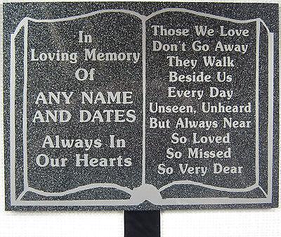 Memorial Plaque Grave Stairway Book Personalised Marble Effect In Loving Memory