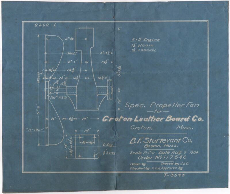 1904 OG BLUEPRINT SCHEMATIC STEAM ENGINE FAN BF STURTEVANT GROTON LEATHERBOARD