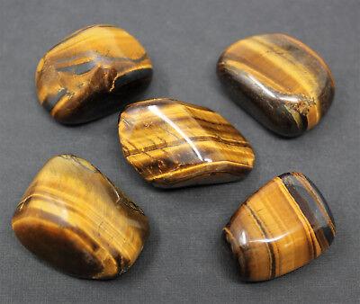 5 Gold Tiger Eye Tumbled Stones (Crystal Healing Chakra Reiki Gemstone) Bulk Lot