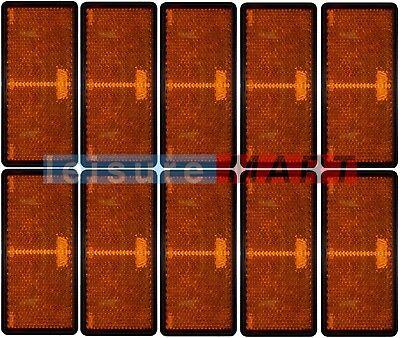 Trailer and truck reflectors rectangular amber orange stick on set of 10