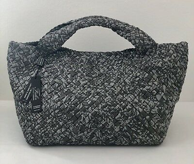 NWT Falor Falorni Firenze Hand Woven Leather Tote Handbag Italy Grey Gray