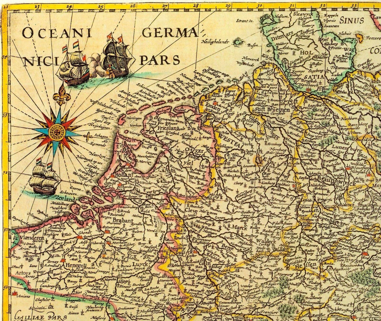 historische landkarte ostfriesland friesland oldenburg jever emden aurich 1658 eur 25 00. Black Bedroom Furniture Sets. Home Design Ideas