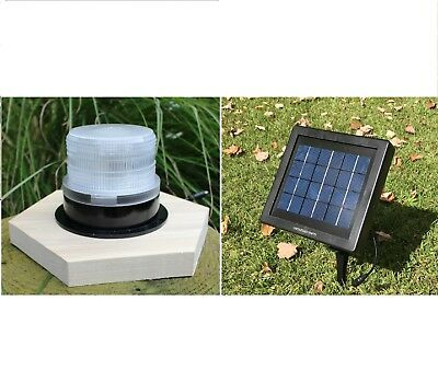 Solar Revolving Beacon Lighthouse Kit - LED Dusk to Dawn with Remote Solar Panel
