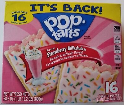 NEW Pop Tarts Toaster Pastries Frosted Strawberry Milkshake 16 Count Free Ship - Strawberry Milkshakes