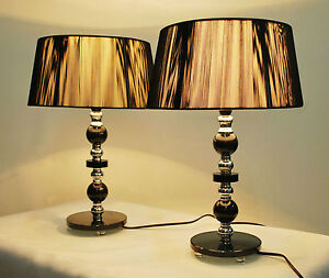 modern desk designer bedside table lamps with black shade glass base. Black Bedroom Furniture Sets. Home Design Ideas