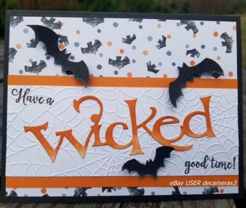 HALLOWEEN Handmade Card Kit, Set of 4, Stampin Up, Wonderfully Wicked, Bats,