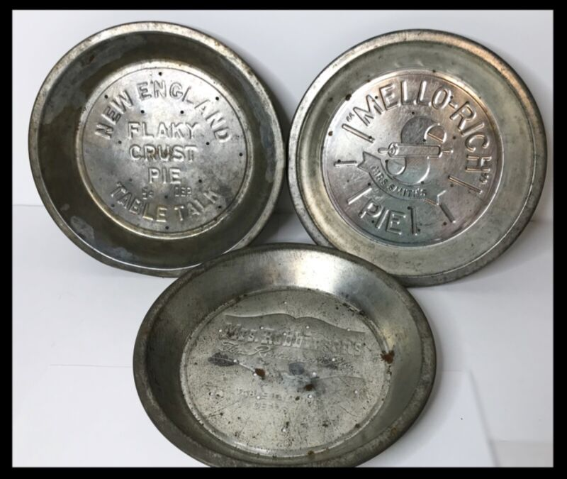 3 Vintage 1930's-40's Tin Pie Plates