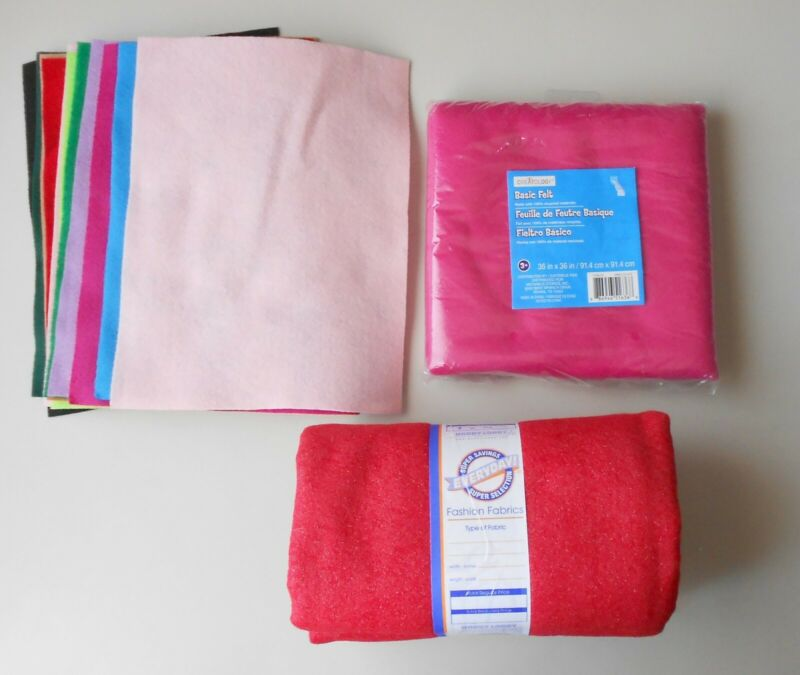 Mixed Multi-Colored Felt Crafting Sheets Lot Creatology Pink Red Glitter Felt