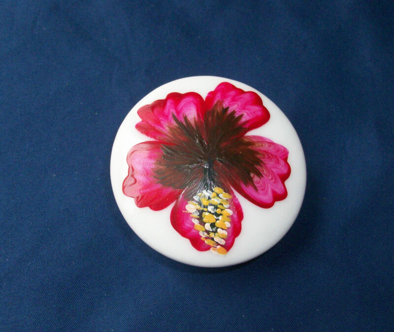 "Ceramic Knob Pull Door Cabinet Drawer Hand Painted Flower Palm Tree 2"" +Hardware"