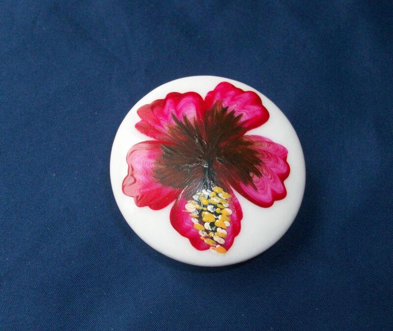 "Ceramic Knob Pull Door Cabinet Drawer Hand Painted Flower Palm Tree 2"" +Hardware"