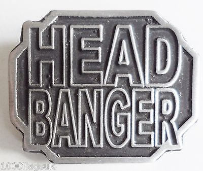 Heavy Metal Head Banger Pin Badge - Hand Made in English Pewter