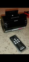 Clock radio with iPhone 5 dock Sony alarm remote charge station black speaker